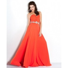 Elegant Strapless Long Coral Chiffon Beaded Flowing Prom Dress
