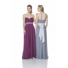 Elegant Strapless Sweetheart Long Chiffon Ruched Formal Occasion Bridesmaid Dress With Sash
