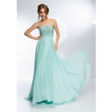 Elegant Strapless Sweetheart Neckline Long Mint Green Chiffon Beaded Prom Dress