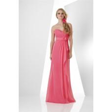 Elegant Sweetheart Long Watermelon Chiffon Bridesmaid Dress With Ruffle Flower Sash