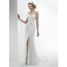 Elegant Sweetheart Open Back Draped Chiffon Summer Beach Wedding Dress With Slit