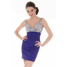 Elegant Tight Sweetheart Short/ Mini Purple Beaded Homecoming Prom Dress