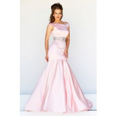 Elegant Trumpet Mermaid Bateau Neck Low Back Long Pink Satin Evening Prom Dress