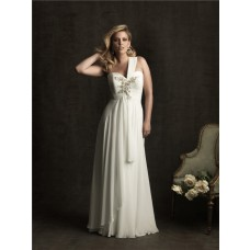 Elegant sheath one strap sweetheart chiffon plus size beach wedding dress