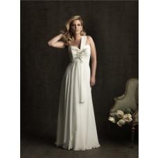 Elegant sheath one strap sweetheart chiffon plus size beach wedding dress
