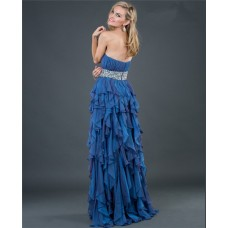 Elegant sheath strapless long royal blue beading chiffon evening dress with ruffles
