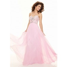 Elegant sheath sweetheart floor length pink chiffon prom dress with beading