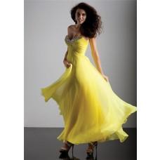 Elegant sheath sweetheart long yellow chiffon prom dress with beading