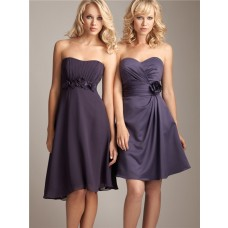 Elegant sweetheart knee length short silk chiffon wedding bridesmaid dress with sash