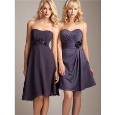 Elegant sweetheart knee length short silk chiffon wedding bridesmaid dress with sash