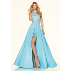 Elegnat High Low Open Back Blue Chiffon Beaded Pageant Prom Dress