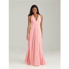 Empire halter floor length long pink chiffon bridesmaid dress