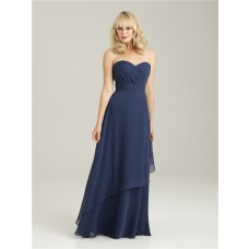Empire sweetheart long navy blue chiffon bridesmaid dress with ruffles