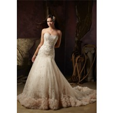 Fairy A Line Strapless Champagne Color Tulle Lace Beaded Wedding Dress With Belt