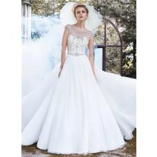 Fairy Ball Gown Bateau Neckline Backless Tulle Crystal Beaded Wedding Dress