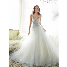 Fairy Ball Gown Illusion V Neckline Grey Tulle Lace Applique Wedding Dress Sheer Straps