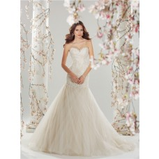 Fairy Fit And Flare Mermaid Sweetheart Ivory Tulle Lace Wedding Dress