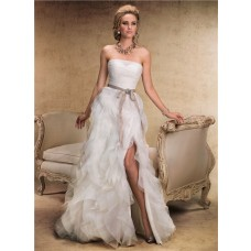 Fairy Tale A Line Strapless Layered Organza Ruffle Wedding Dress With Sash