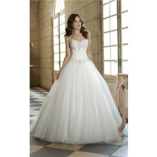 Fairy Tale Ball Gown Satin Lace Tulle Sequin Corset Wedding Dress