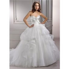 Fairy Tale Ball Gown Sweetheart Puffy Tulle Wedding Dress With Swarovski Crystals