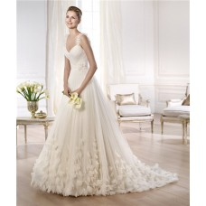 Fairy Tale Princess A Line V Neck Tulle Organza Petal Wedding Dress With Straps