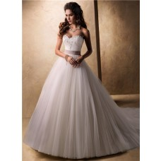 Fairy Tale Princess Ball Gown Sweetheart Tulle Wedding Dress With Lace Jacket