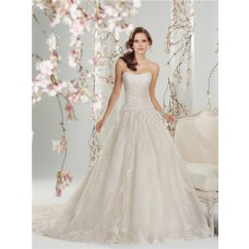 Fairytale A Line Princess Scooped Strapless Corset Back Tulle Lace Wedding Dress
