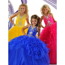 Fancy Ball Gown Halter Royal Blue Organza Ruffle Beaded Girls Pageant Party Prom Dress