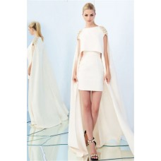 Fantastic Column Short Ivory Satin Evening Prom Dress With Cape