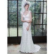 Fantastic Mermaid Sweetheart Cap Sleeve Open Back Venice Lace Wedding Dress