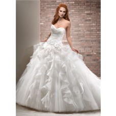 Fantasy Ball Gown Sweetheart Tulle Organza Ruffle Big Puffy Wedding Dress