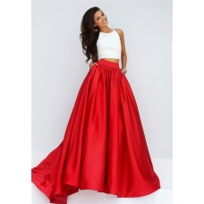 Fashion A Line Halter Two Piece White And Red Silk Satin Prom Dress With Pockets