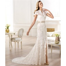 Fashion A Line High Neck Cap Sleeve Lace Wedding Dress With Slit Sash Bow