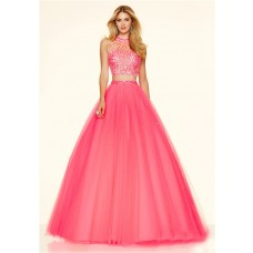 Fashion Ball Gown High Neck Two Piece Hot Pink Tulle Beaded Prom Dress
