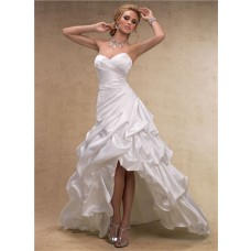 Fashion High Low A Line Sweetheart Satin Wedding Dress With Pick Up Skirt