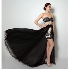 Fashion High Low Black Lace Tulle Corset Prom Dress With Detachable Skirt