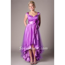 Fashion High Low Lilac Satin Tulle Party Prom Dress With Straps Flower Sash