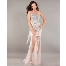 Fashion Illusion Neckline Backless Nude Satin Tulle Beaded Prom Dress