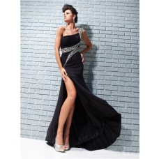 Fashion New One Shoulder Long Black Chiffon Evening Prom Dress With Beading