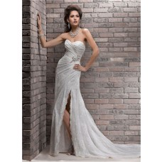 Fashion Sheath Sweetheart Lace Wedding Dress With Slit Crystal Sash