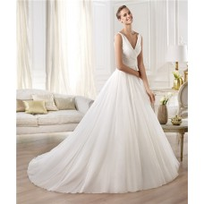 Fashion Simple A Line Princess V Neck Chiffon Organza Draped Wedding Dress