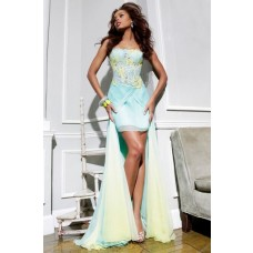 Fashion Strapless High Low Yellow Green Chiffon Lace Prom Dress