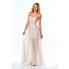 Fashion Strapless Peach Chiffon Beaded Long Prom Dress Illusion Skirt
