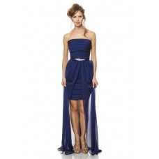 Fashion Strapless Short Midnight Blue Chiffon Pleated Party Bridesmaid Dress Removable Skirt