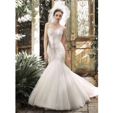 Fashion Trumpet Mermaid Ruched Tulle Crystal Corset Wedding Dress