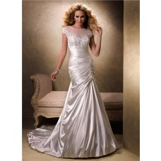 Fit And Flare A Line Illusion Neckline Cap Sleeve Satin Wedding Dress