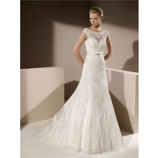 Fit And Flare Mermaid Boat Neck Deep V Back Cap Sleeve Lace Wedding Dress With Bow Belt