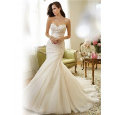 Fit And Flare Mermaid Strapless Asymmetrically Draped Organza Lace Wedding Dress Corset Back