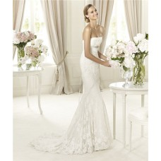 Fit And Flare Mermaid Strapless Lace Wedding Dress With Crystal Sash Buttons