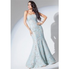 Fit And Flare Mermaid Strapless Light Blue Lace Evening Prom Dress
